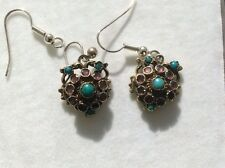 A pair of Antique TURQUOISE & AMETHYST   Austro Hungarian drop earrings