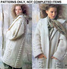 Knitting PATTERNS Womens Jackets Full Length Coats Aran Cable Fairisle Indian