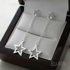 Pretty 925 Stamped Sterling Silver Plated Star Drop Dangle Earrings New -138