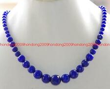 """6-14mm Faceted Blue Sapphire beads Gemstone Necklace 17"""""""