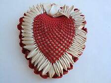 Vintage Hand Crafted Heart Shaped Pin Cushion Crochet Red White Hang Sewing Pins
