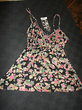 "Black & Pink Floral Cotton Strappy Top by Rise in Size 10 - Chest 35-36"" - BNWT"