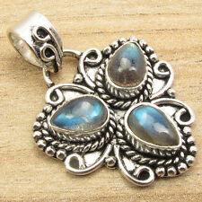 BLUE FIRE LABRADORITE 3 STONE Retro Fashion Pendant ! Sterling Silver Overlay