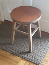 Vintage Primitive Solid Wood Leather Stool Chair Bench
