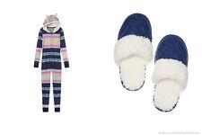 Victoria's Secret Long Jane Fireside Fur Hooded Onesie Pajama Navy S Slippers M