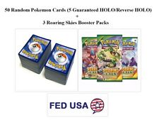 Pokemon TCG 50 Card Lot Includes 5 HOLOs and 3 Roaring Skies Booster Packs