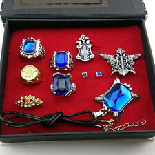 Black butler Kuroshitsuji Ciel Phantomhive Cosplay Rings+ Necklace+Ear-nail Set