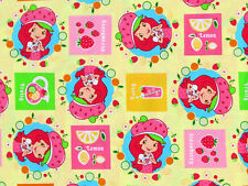 STRAWBERRY SHORTCAKE QUILTING / SEWING 100% COTTON FABRIC  STRAWBERRIES  YARDAGE