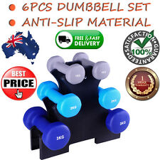Everfit 6 Piece 12Kg Dumbbell Fitness Strength Training Weights Set W/ Stand