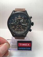 Timex T49905 Men's Expedition Brown Leather Watch Field Chronograph T499059J-R8
