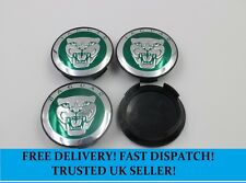 Set of Green Jaguar 59mm Centre Caps with 52mm Clips X Type S Type F Type XF