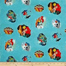 Fat Quarter The Little Mermaid Ariel Movie Scenes 100% Cotton Quilting Fabric