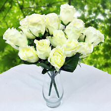 24 Artificial Assorted Cream Rose 2 Bouquet Wedding Party Flower Home Decoration