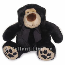 SOFT BLACK GRIZZLY CUDDLY STUFFED TEDDY BEAR