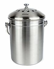 1.2 Gallon Stainless Steel Countertop Kitchen Compost Bin W/ Free Odor Filter