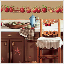 COUNTRY APPLES wall stickers 40 big decals stars berry vine rustic room decor