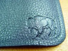 Black Bison BUFFALO LEATHER TriFold Wallet hand crafted disabled Navy vet 5013