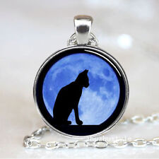 Cat Cabochon Tibetan silver Glass Chain Pendant Necklace D#0234