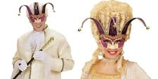 Deluxe Purple Jolly Jester Venetian Masquerade Masked Ball Carnival Eye Mask