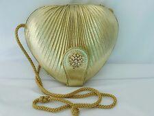Glamorous! Sasha Gold Fabric Semi-Hard Case Evening Bag Purse with Rhinestones