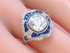 ART DECO 2ct OLD MINE CUSHION DIAMOND SAPPHIRE PLATINUM ENGAGEMENT COCKTAIL RING