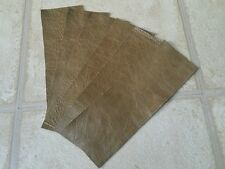"Sand green top quality Real leather 9"" x 3"" offcuts You get 5 pieces 1.5mmThick"