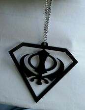 Superman Black Acrylic Khanda Punjabi Sikh Pendant Car Rear Mirror Hanging Chain
