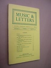 MUSIC & LETTERS. JANUARY 1975. QUARTERLY JOURNAL. OUP. J A WESTRUP