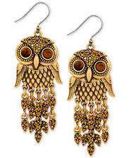 Lucky Brand Antique Goldtone Hoot Couture Shaky Owl Drop Earrings Jlry7027 $39