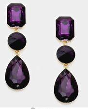 """3"""" Purple Gold Long Rhinestone Crystal Pageant Swarovski Dangle Earrings"""
