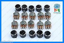 10 Pc 22Kohm DUAL Rotary Potentiometer Variable Resistance Linear Free Knob Caps