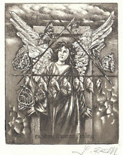 Engel Exlibris Jens Rusch Angel Metamorphisis Etching c3 sign Radierung