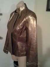REVUE designer womens metallic bronze copper leather jacket sz.XS