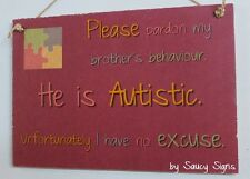 Autism Brother Son Children Kids Shabby Chic Rustic Autistic Awareness Sign