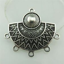 19808 10Pcs Vintage Silver Alloy Filigree Chandlier Sun Tassel Pendant Connector