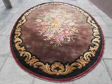 Antique Machine Made English Design 12 x 8 Wool Brown Oval Carpet 360X252cm