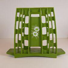 Avocado Green Napkin Holder 1970s Retro Vtg Mid Century Mod Daisy Flower Kitchen