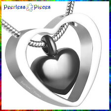 Peerless Pieces Urn Necklace Cremation Memorial Stainless Steel Black Heart #37