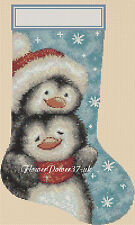 Cross stitch chart Christmas Stocking Penguin NATALE 2 flowerpower37.
