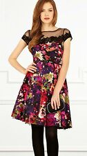 COAST JOLIE BLACK SHEER LACE MULTI FLORAL SILKY 50'S SKATER DRESS 8 BNWT £150
