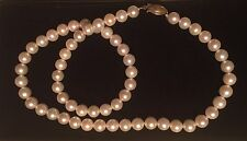 AKOYA AA Certified PEARL NECKLACE 17 Inch whitish gold pearls 6.5-7.0mm NIB