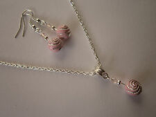 Silver Plated Jewellery Set in Pale Pink Swirl Beads - Necklace & Earrings