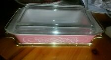 Vintage Pyrex Pink Swirl 2 Qt. Casserole Dish with Cradle  and Lid Made USA