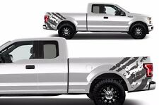 Custom Vinyl Graphics Decal Rear Wrap Kit for 2015-2017 Ford F-150 RIPPED Gray