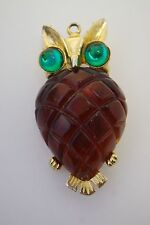 Vintage  Large Jelly Belly Carved Cherry Red Lucite Owl Pin Brooch/Pendant