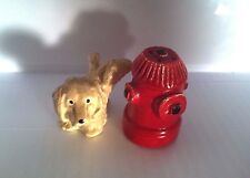 VINTAGE MINIATURE DOG PEEING ON A FIRE HYDRANT SALT & PEPPER SHAKERS