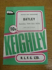 15/10/1978 Rugby League Programme: Keighley v Batley  (Folded). Condition: We as