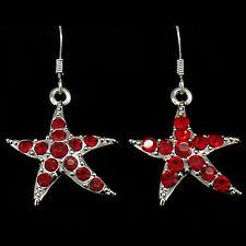 Starfish Sea Life Beach Dangle Drop Hook Earrings Costume Jewel Crystal Red 515