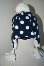 NEW Baby Gap Polka Dot Fleece Trapper Hat  XS/S Extra Small / Small BLUE WHITE