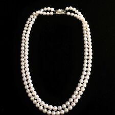 "Vintage Double Strand Akoya Pearl Choker Necklace 14.5"" Sterling Silver Japanese"